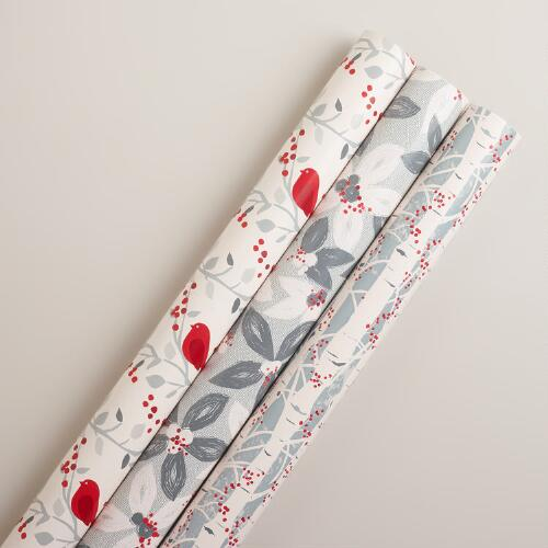 Poinsettia Snow Birds Gift Wrap Rolls, 3-Pack