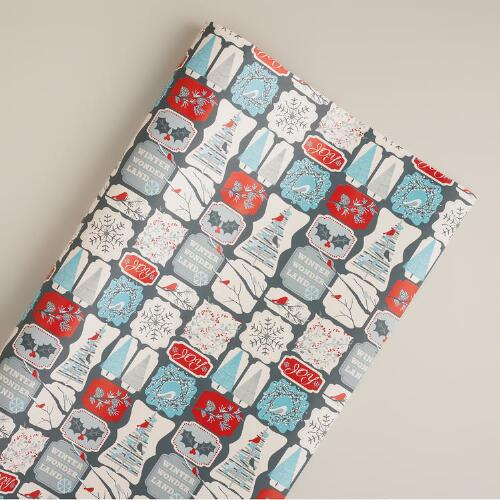 Jumbo Snow Bird Squares Gift Wrap Roll