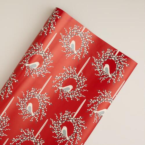 Jumbo Red Snow Bird Wreath Gift Wrap Roll