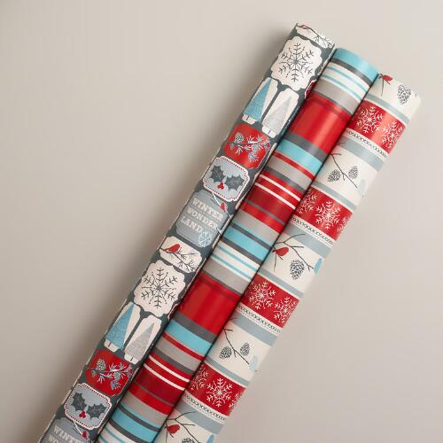 Snow Birds Stripe Gift Wrap Rolls, 3-Pack