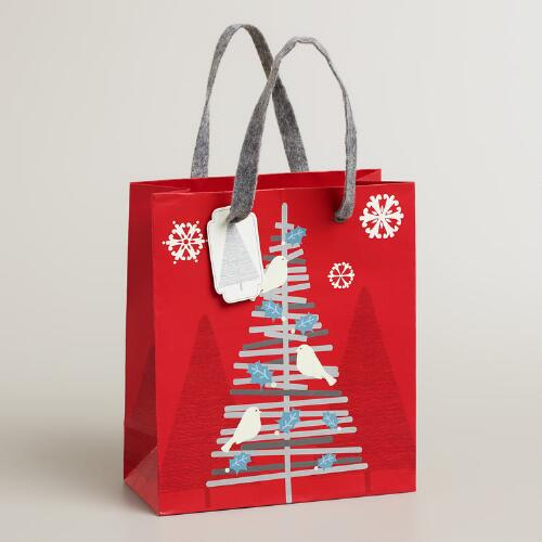 Small Red Stick Tree Gift Bag