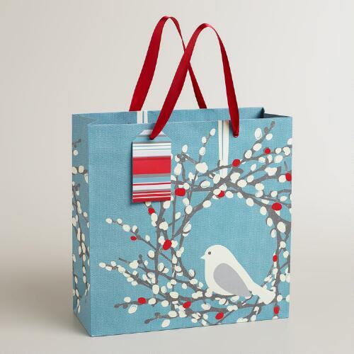 Medium Snow Bird Wreath Gift Bag