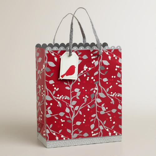 Large Red Snow Bird Gift Bag