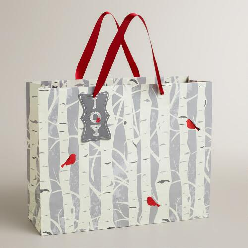 Large Snow Bird Trees Gift Bag
