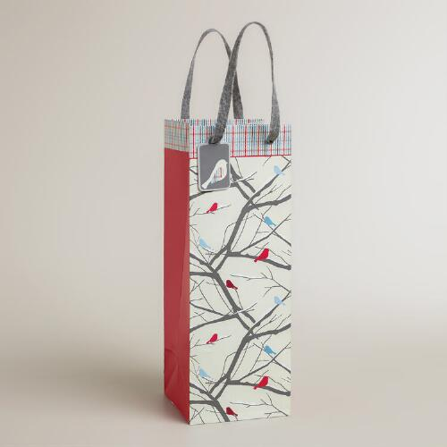 Snow Birds and Twigs Wine Bag