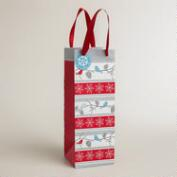 Snow Birds Stripe Wine Bag