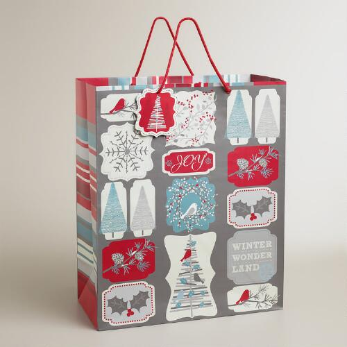 Jumbo Snow Bird Squares Gift Bag