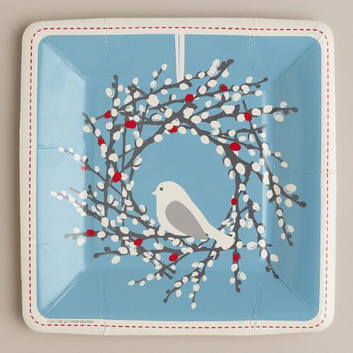 Snow Birds Paper Plates, 8-Count