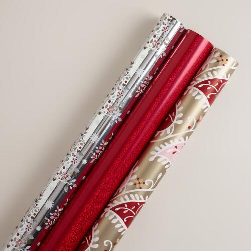 Red Snowy Gift Wrap Rolls, 3-Pack