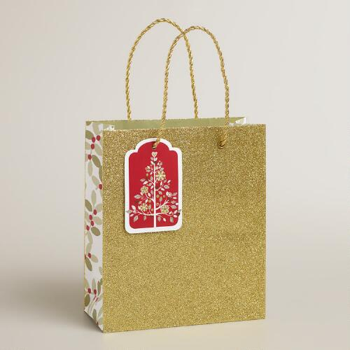 Small Gold Glitter Gift Bag
