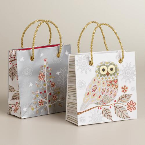 Mini Snowy Owl Gift Bags, 2-Pack