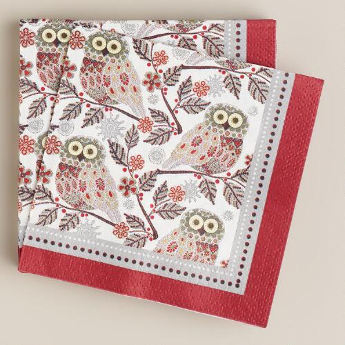 Snowy Owl Beverage Napkins, 16-Count