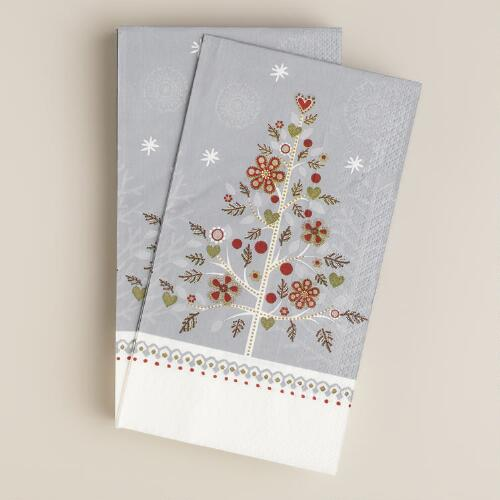 Snowy Tree Guest Napkins, 16-Count