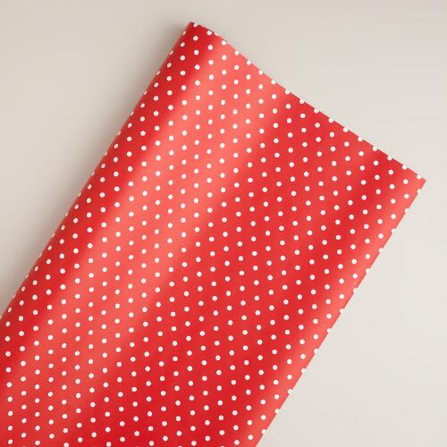 Jumbo Red and White Dot Gift Wrap Roll