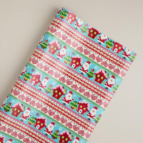 Jumbo Sweet Santa Stripe Gift Wrap Roll