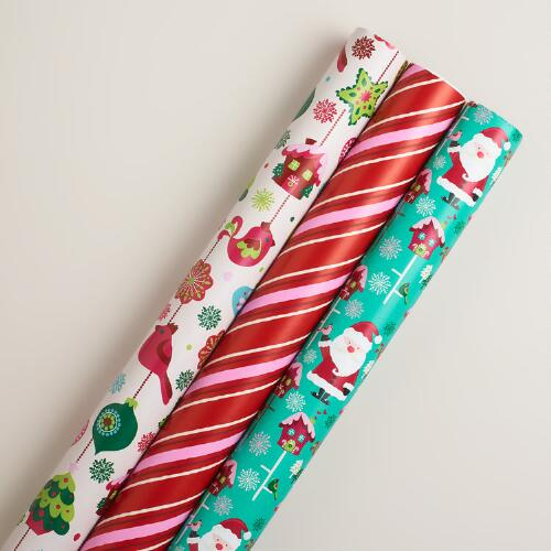 Sweet Holidays Gift Wrap Rolls, 3-Pack