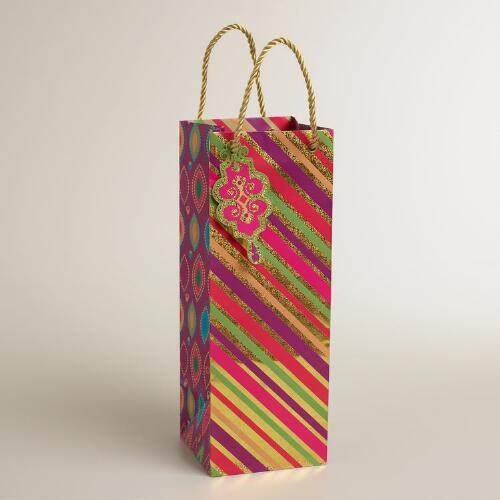 Large Diagonal Stripe Wine Bag