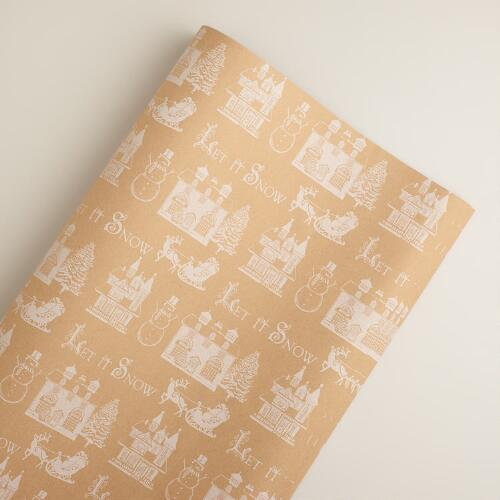 White Let it Snow Kraft Giftwrap
