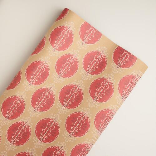 Red Ornament Kraft Giftwrap
