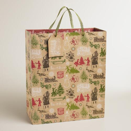 Jumbo Christmas Trees Kraft Gift Bag
