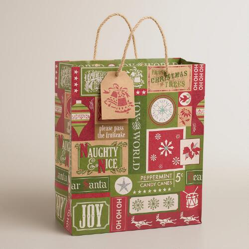 Large Victorian Patch Kraft Gift Bag