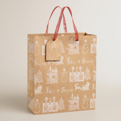 Large Let it Snow Kraft Gift Bag