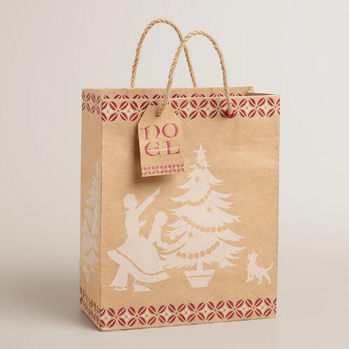 Medium White Noel Kraft Gift Bag