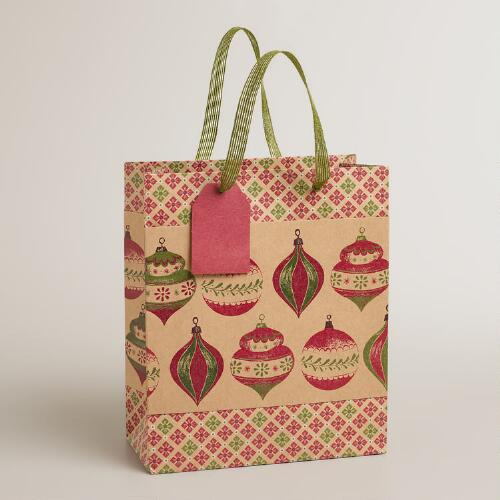Medium Ornaments Kraft Gift Bag
