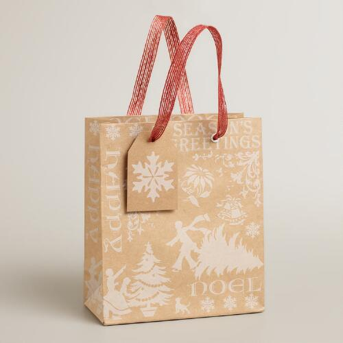 Small White Victorian Kraft Gift Bag