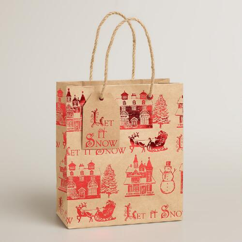 Small Let it Snow Kraft Gift Bag