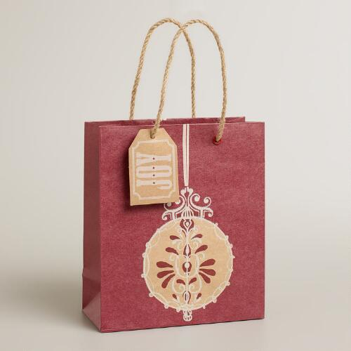 Small Red Ornament Kraft Gift Bag