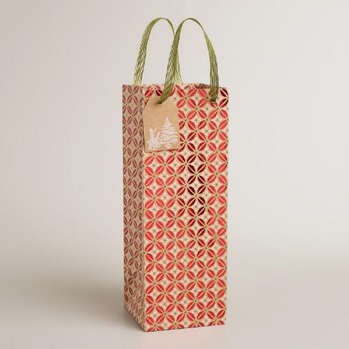 Nordic Houses Red Foil Kraft Wine Bag