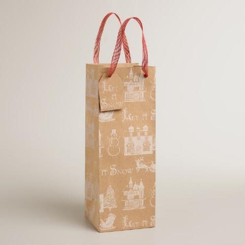 Let it Snow Kraft Wine Bag