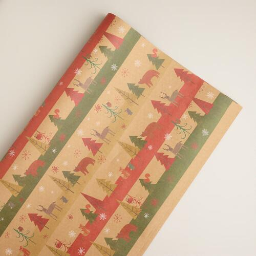 Striped Woodland Kraft Giftwrap