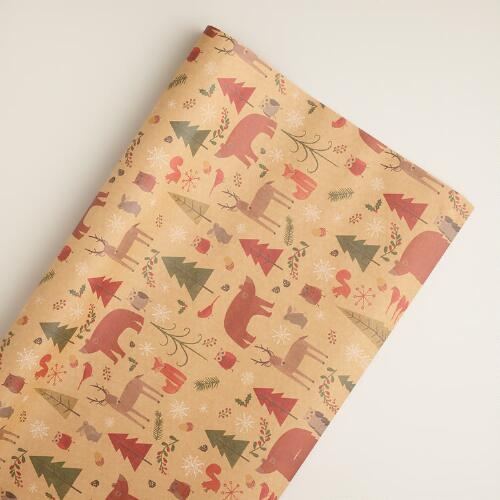 Woodland Animals Kraft Giftwrap