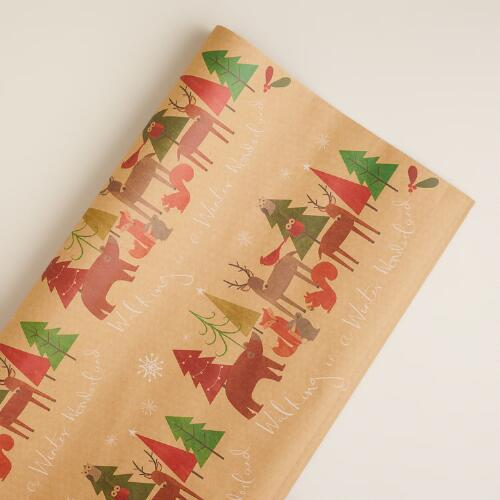 Woodland Friends Kraft Giftwrap