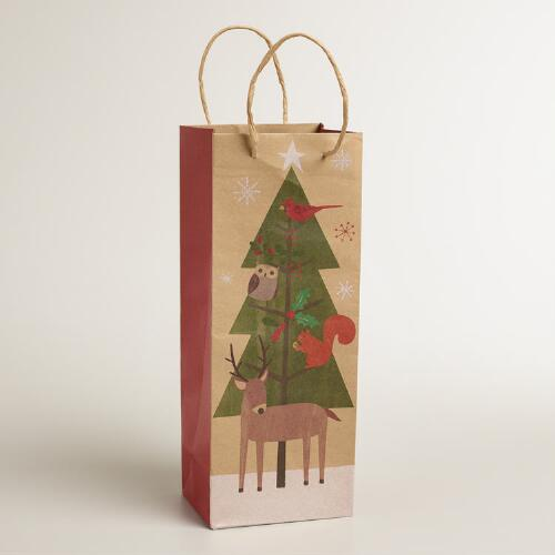 Christmas Tree Kraft Wine Bag