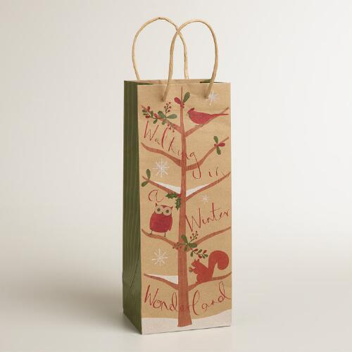Walking in a Winter Wonderland Kraft Wine Bag