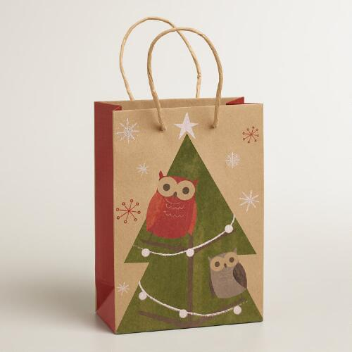 Small Woodland Owls Kraft Gift Bag