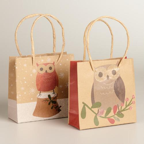 Mini Woodland Owls Kraft Gift Bags, 2-Pack