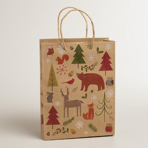 Medium Woodland Animals Kraft Gift Bag