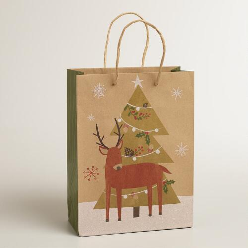 Medium Woodland Reindeer Kraft Gift Bag