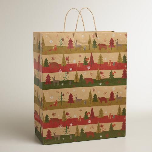 Jumbo Woodland Animals Kraft Gift Bag