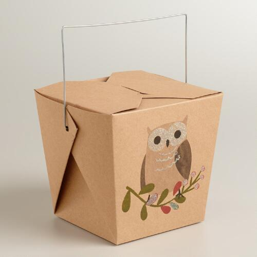 Medium Woodland Owl Takeout Boxes, Set of 6