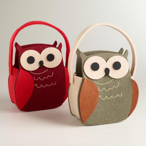 Woodland Owls Felt Containers, Set of 2