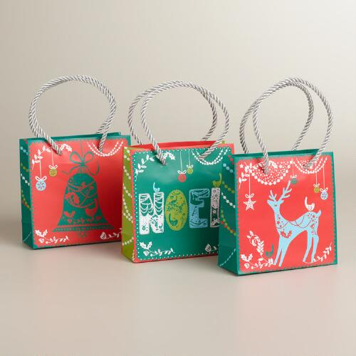Mini Lace Noel Value Gift Bags, 3-Pack