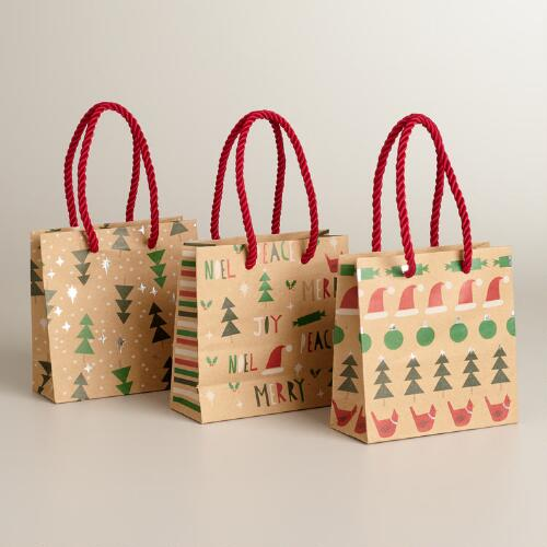 Mini Trees Kraft Value Gift Bags, 3-Pack