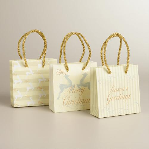 Mini Gold and Ivory Reindeer Value Gift Bags, 3-Pack