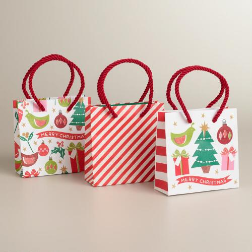 Mini Retro Holiday Value Gift Bags, 3-Pack