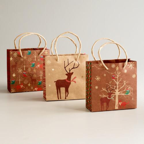 Mini Woodland Creatures Kraft Value Gift Bags, 3-Pack